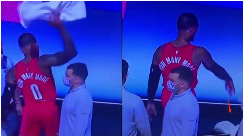 【影片】很沮喪!Lillard受傷後不願退場,隊醫勸他放棄比賽,怒扔毛巾發洩!