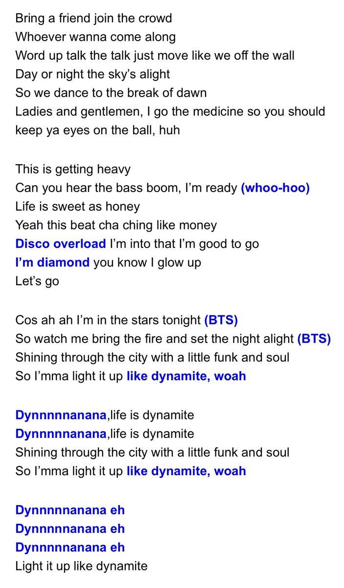 ダイナマイト 歌詞 bts