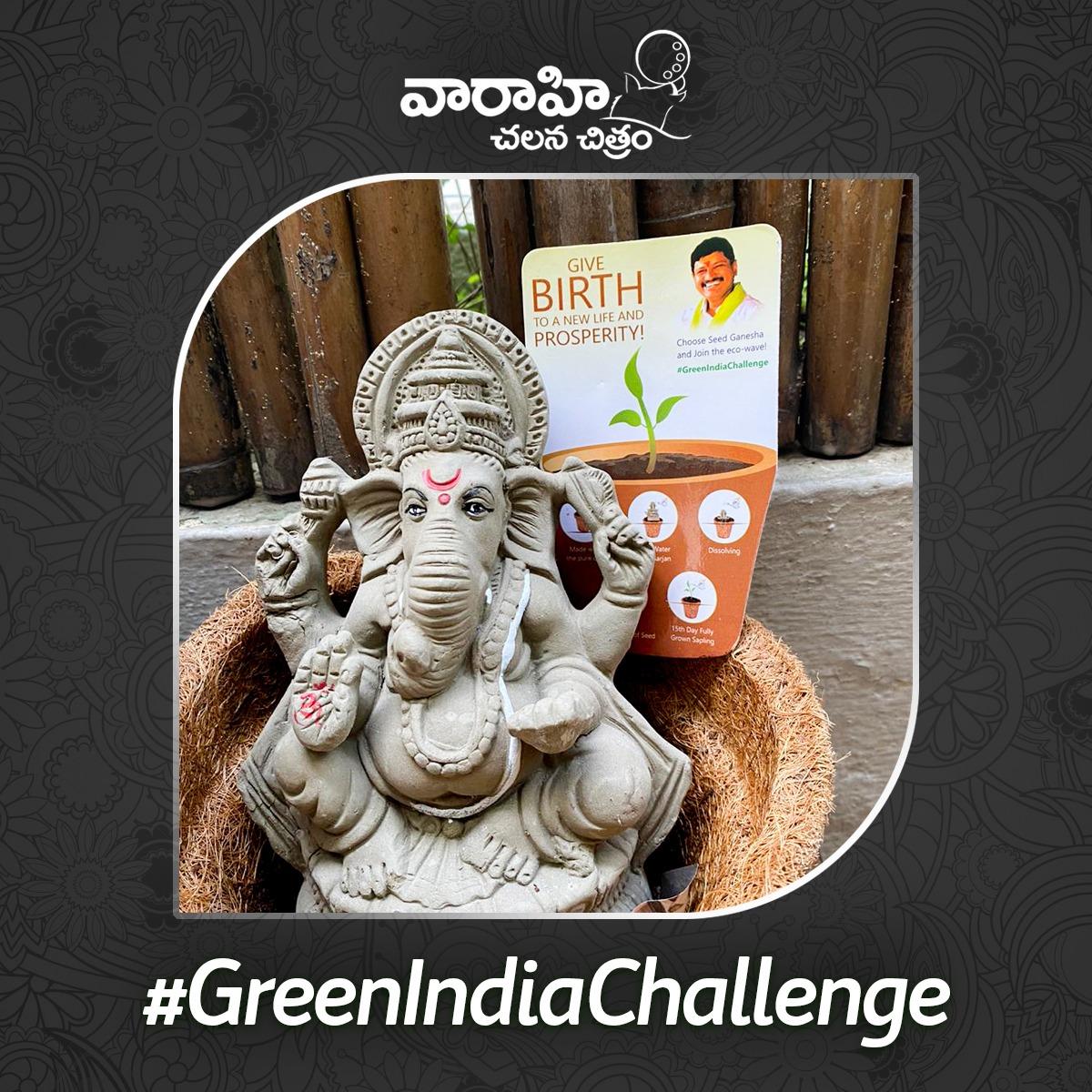 A wonderful initiative by @MPsantoshtrs garu, Thank you for sending this #SeedGanesha.  We request everyone to choose eco- friendly Ganesha and keep the environment Green 💚  #GreenIndiaChallenge. https://t.co/cW0AhbudyE