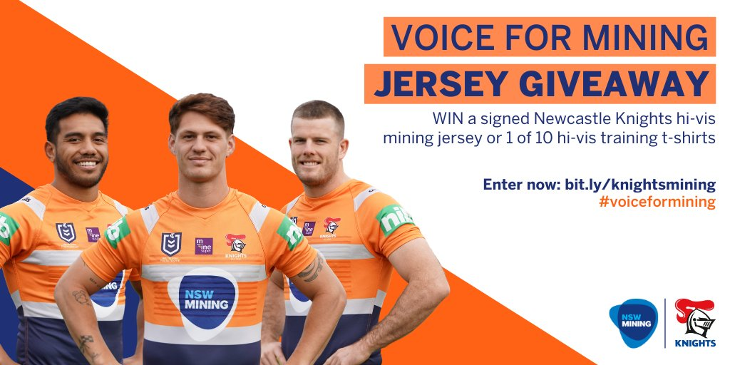 Want to get your hands on a @NRLKnights Voice for Mining hi-vis jersey?  We've got ten to give away - so head to https://t.co/ey42xaQKSf and enter now!  #gohardgoknights #newcastleknights #voiceformining #nswmining #nrl https://t.co/ZTiLOf0FVe