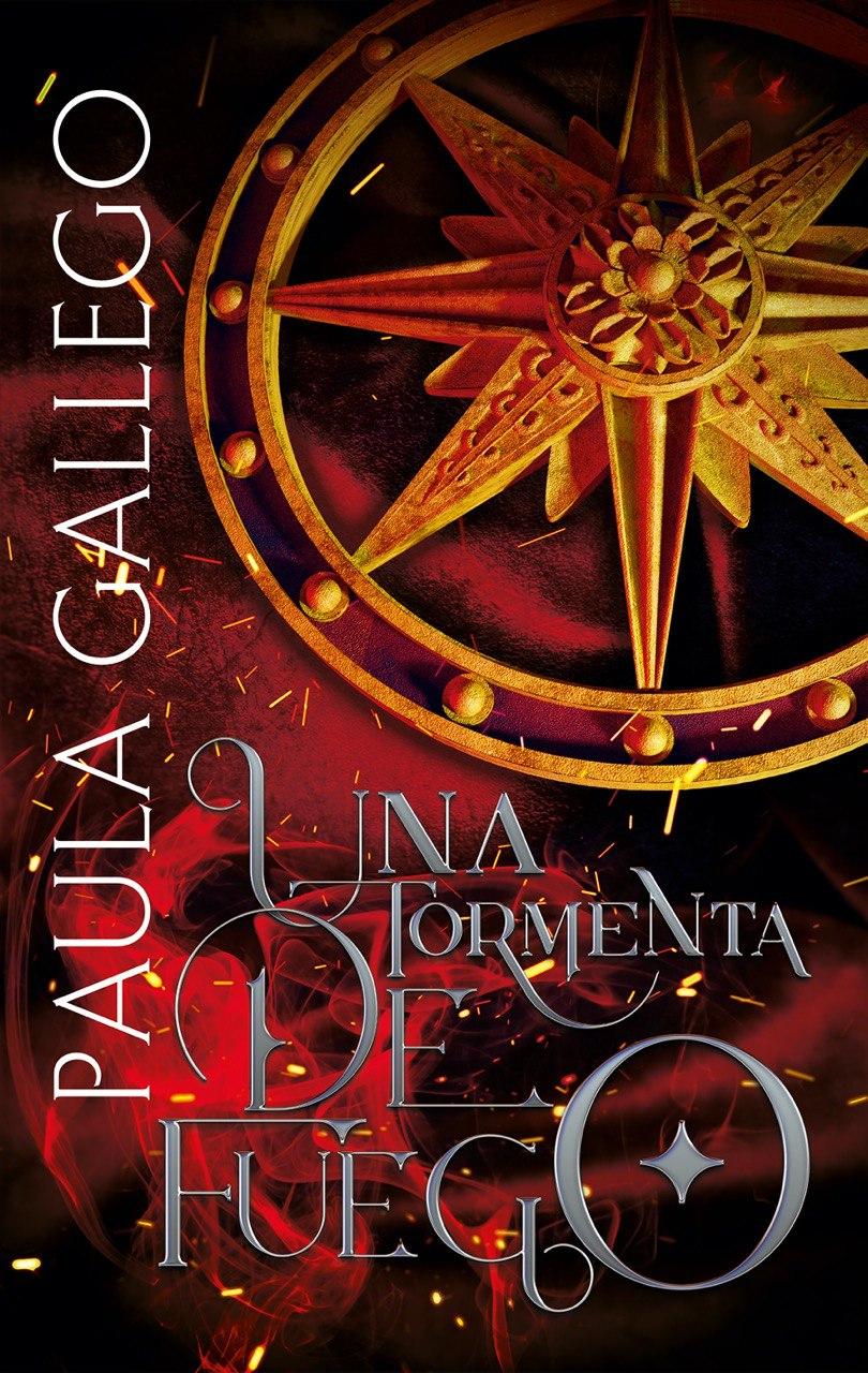 Una portada con fondo rojo y negro, imitando llamas. Mi nombre está en el lateral izquierdo, en vertical. En el centro y abajo está el título en una tipografía bonita y ocupando el resto del espacio una rosa de los vientos de piedra dorada.