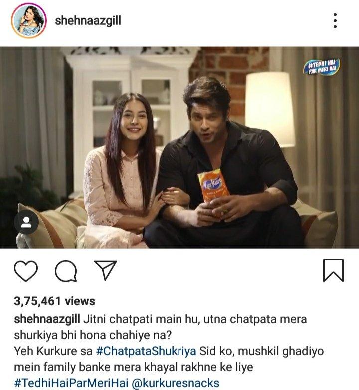 Aaj to #kurkuresnacks ne #sidnaaz ek frame le aaya thanks to #kurkure aaj #SidNaazians bahat khush hey aur jo #sid ke haters hain dekhlo #ShehnaazGill kiya likha hey muskil ghadiyo main saath dene ke liye shukriya so please don't post any negative about them #KurkureWithSidNaaz