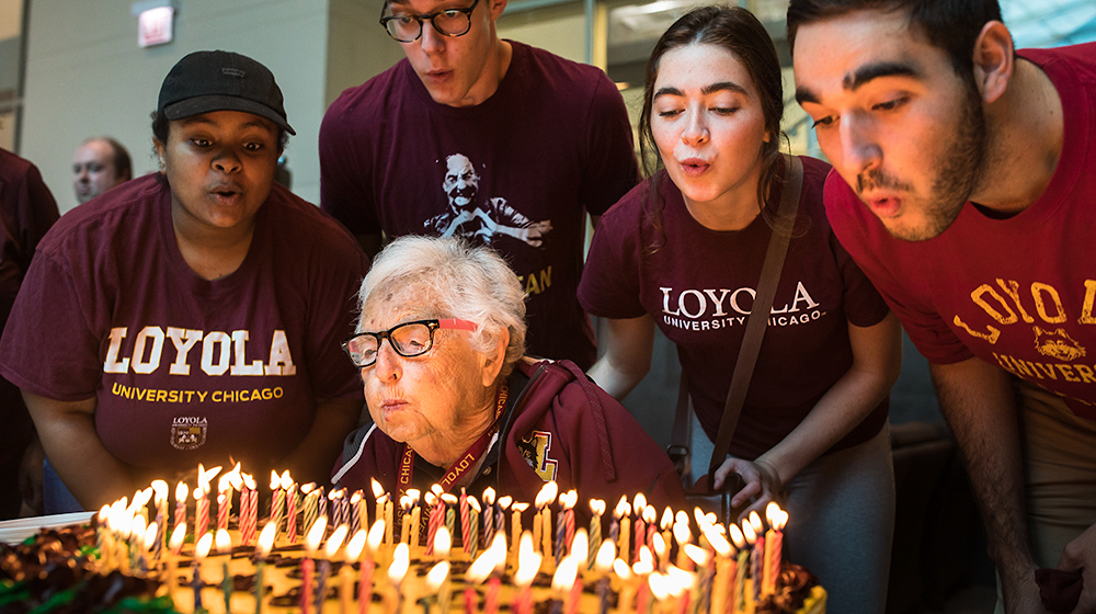 Today's the big day: Sister Jean turns 101! Celebrate by cutting yourself a slice of cake & scooping yourself a generous helping of ice cream in the comfort of your own home! Snap a picture, tag @Loyola_Alumni, & use #SisterJean101 to share! https://t.co/odjVsc2y65