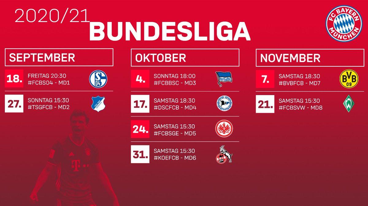 📆 Die #Bundesliga-Spieltage 1⃣-8⃣ wurden terminiert!   🏟 #FCBS04 - 18.09. - 20:30 ✈ #TSGFCB - 27.09. - 15:30 🏟 #FCBBSC - 04.10. - 18:00 ✈ #DSCFCB - 17.10. - 18:30 🏟 #FCBSGE - 24.10. - 15:30 ✈ #KOEFCB - 31.10. - 15:30 ✈ #BVBFCB - 07.11. - 18:30 🏟 #FCBSVW - 21.11. - 15:30 https://t.co/b6nAqBdHry