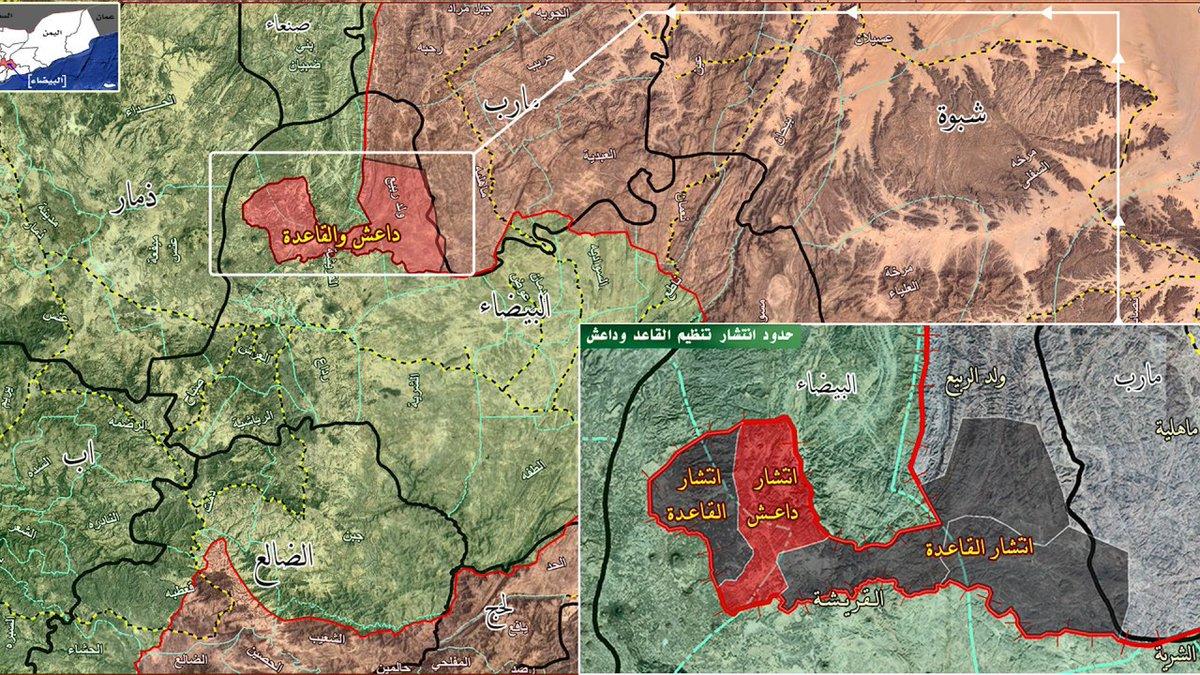 Хуситы зеленые, саудиты и ИГИЛ Красные. Ярко красным выделен район освобожденный хуситами.