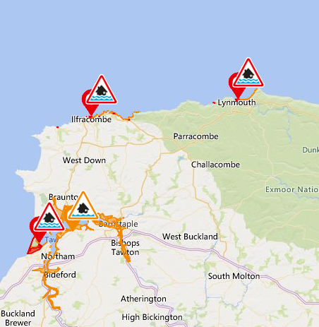 There are still #flood warnings in place for North Devon #devon . https://t.co/QdPKdEYx15. Please make sure you know the flood risk for your stretch of coastline and what to do in a flood event. https://t.co/7uUKkWpXN9