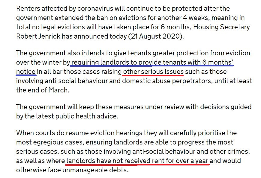 "6 month requirement for landlord notice when tenant has not paid rent for 364 days?  @mhclg & @RobertJenrick classified ""serious"" arrears as non-payment for 12 months! #ukhousing #housing #socialhousing @NRLAssociation @KateNHF @GavinSmartCIH @pollyn1 @jon_sparkes @nearlylegal https://t.co/Xy1Vv4vg2T"