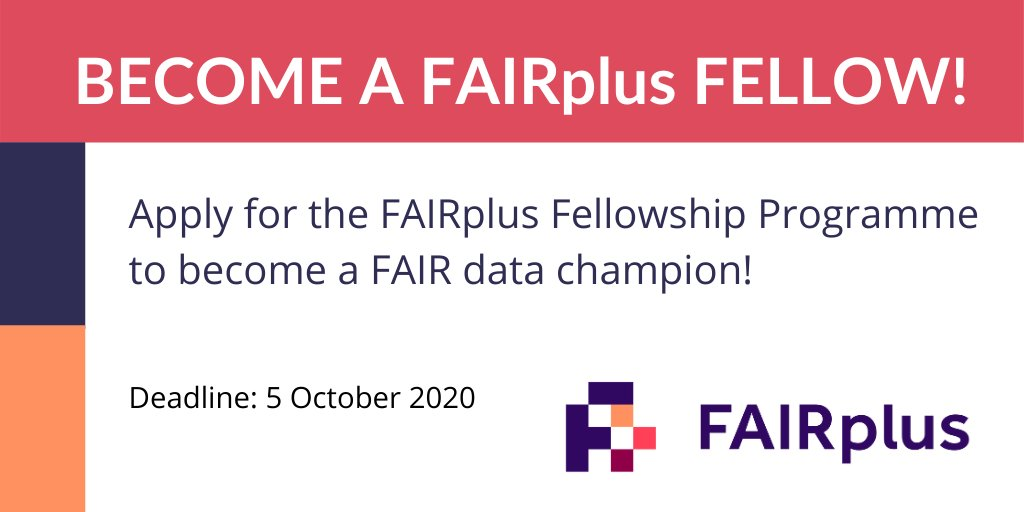 Interested in #FAIRdata management, but don't know where to start? Apply for the #FAIRplus Fellowship Programme, an eight-month training programme, combining training-on-the job, online learning and short workshops.   ➡️  https://t.co/mdy6kVsinL ⏰  Deadline: 5 Oct 2020 https://t.co/GH69YRMaIJ