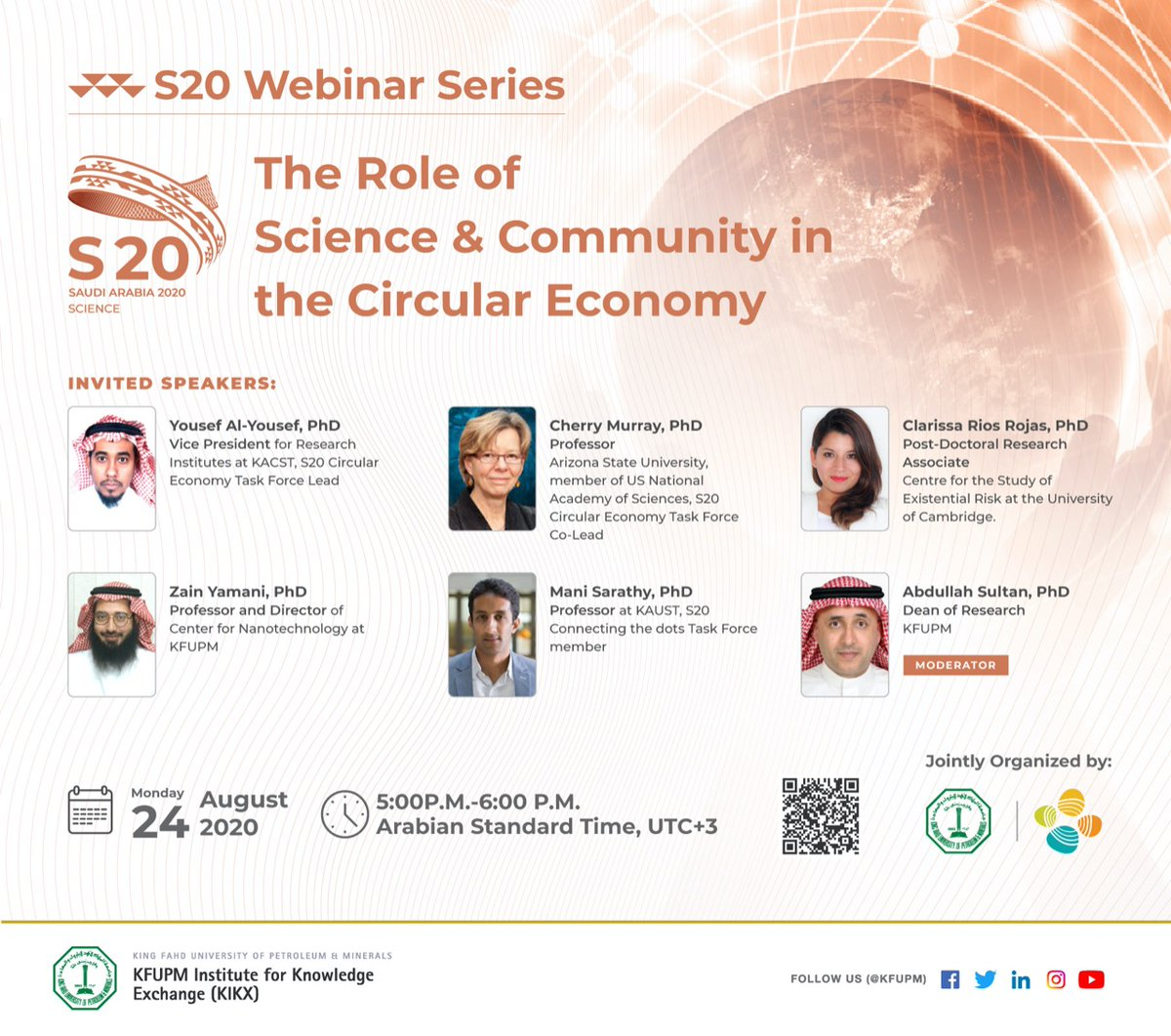 Don't forget to register for the upcoming #Science20 webinar session on Circular Economy ➡️ https://t.co/KMciaezFQA Speakers include experts from international institutions such as @KACST, @ASU, @Cambridge_Uni, @KFUPM and @KAUST_News @CCRCatKAUST #circulareconomy #G20SaudiArabia https://t.co/snLHq0dpCi
