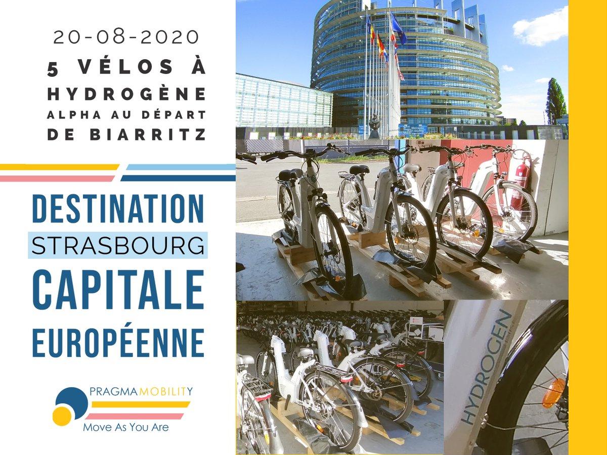Hier 5 #vélos à hydrogène Alpha ont quitté Biarritz à destination d'une entreprise de la ville de @strasbourg  4ème ville cyclable au monde!🚴♂️🚴♂️🚴♂️ #h2now #h2bike #mobility #Hydrogene #innovation