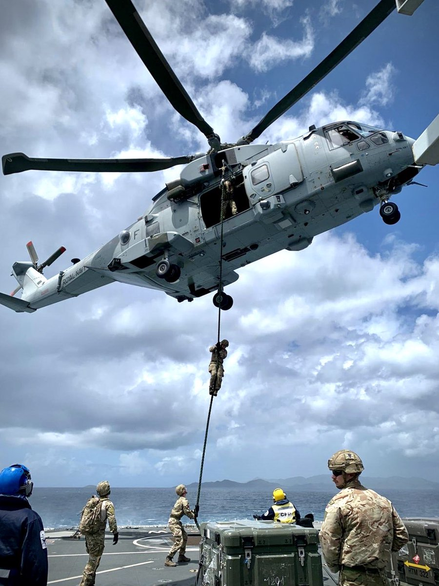 Hang tough! 💪🏼 @845NAS Commando Merlin conducting fast roping with @CO24Cdo to the OPV @HMS_Medway. All part of the @UKinCaribbean and support to the area during hurricane season. #FlyNavy #CommandoMerlin @ComdJHC @ComdLittoralSG @bvigovoff @RoyalNavy