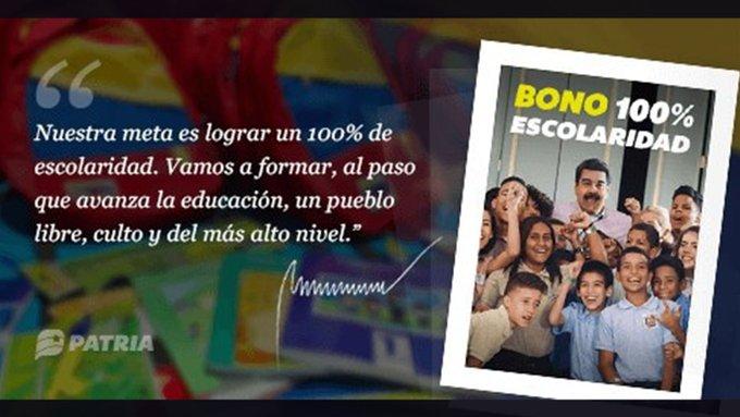 Inicia asignación de Bono 100% Escolaridad mediante el Carnet de la Patria https://t.co/jhYEVDriAS  #VenezuelaDignaYAntiimperialista https://t.co/sXUIxfaaXS