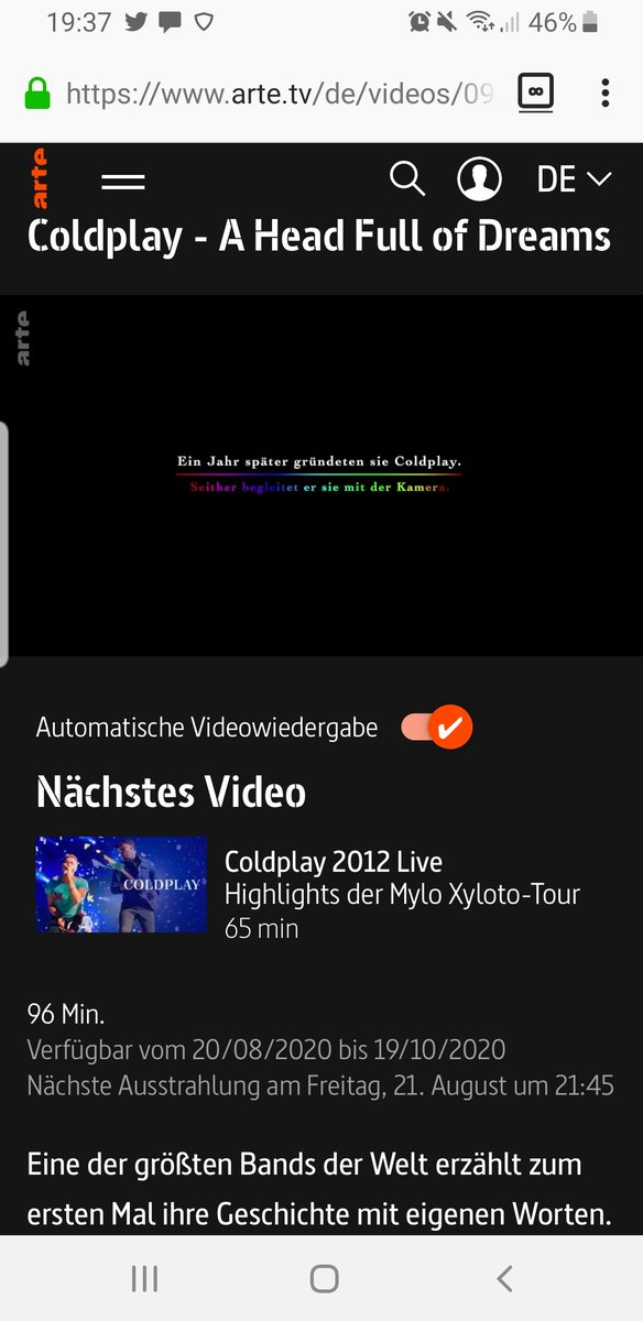 @coldplay @MatWhitecross  Arte TV will stream #ahfodfilm from 9 : 45 pm German time tonight . Like always you brighten up dark clouds that weigh heavy on my mind and I am in the perfect emotional state of mind to watch it the 3 trillions time being so proud of you 💛🧡💚💙💜❤