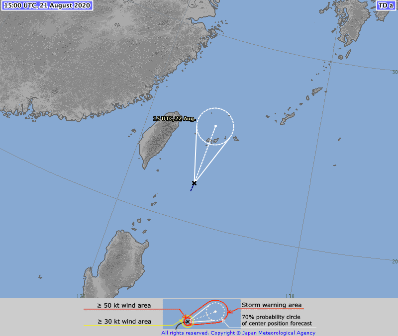 ⚠️ Tropical Depression #NINE #09W 21/1500Z 22.0N 123.7E , moving NNE 09kt. Max sus wind 30kt, gusts to 45kt. 1006hpa (RSMC Tokyo)   Expected to become a Typhoon by 23 Aug, 12:00 UTC (TSR UCL London data)  >>>>https://t.co/mB7gf4dJun https://t.co/bf1lMDc6uQ