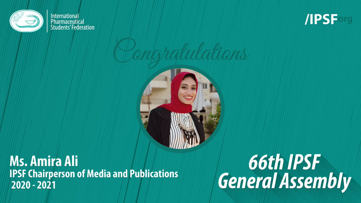 Congratulations to Ms. Amira Ali (EPSF, Egypt) for being elected to the position of IPSF Chairperson of Media and Publications 2020 - 2021 #IPSForg #66thGeneralAssembly https://t.co/cPBll0pVJC