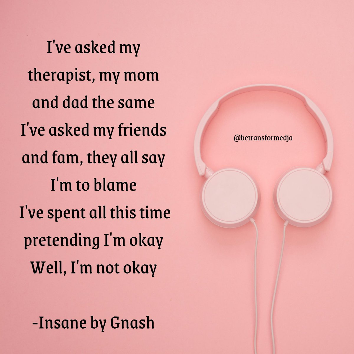 """Going to counselling really lifted a huge weight off my shoulders because I was finally able to say """"I'm not OK"""" without being judged or dismissed.  I didn't need to put up a front and I could be as vulnerable as I needed to be. If you are not ok, talk to someone. pic.twitter.com/8NkIijZrJ3"""