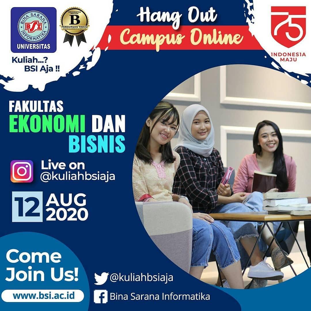 Hai Sobat BSI... Fakultas Ekonomi dan Bisnis Universitas Bina Sarana Informatika menyelenggarakan Hang Out Campus Online yang akan diselenggarakan secara live instagram di akun @kuliahbsiaja pic.twitter.com/C8uLggJooM