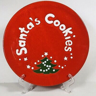"Waechterbach Christmas Tree Santas Cookies Dish Plate Germany 7 3/4"" Red Green  