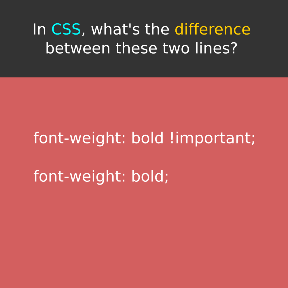 In CSS, what's the difference between these two lines?  #css #css3 #CascadingStyleSheet #CascadingStyleSheets #html #html5 #xhtml #dhtml #htmlcss #htmlcode #htmlemail #htmlcoding #HTMLHeading #HTMLHeadings #htmlcoin #htmlbuilder #html5tutorialpic.twitter.com/PlQsaNvxXG