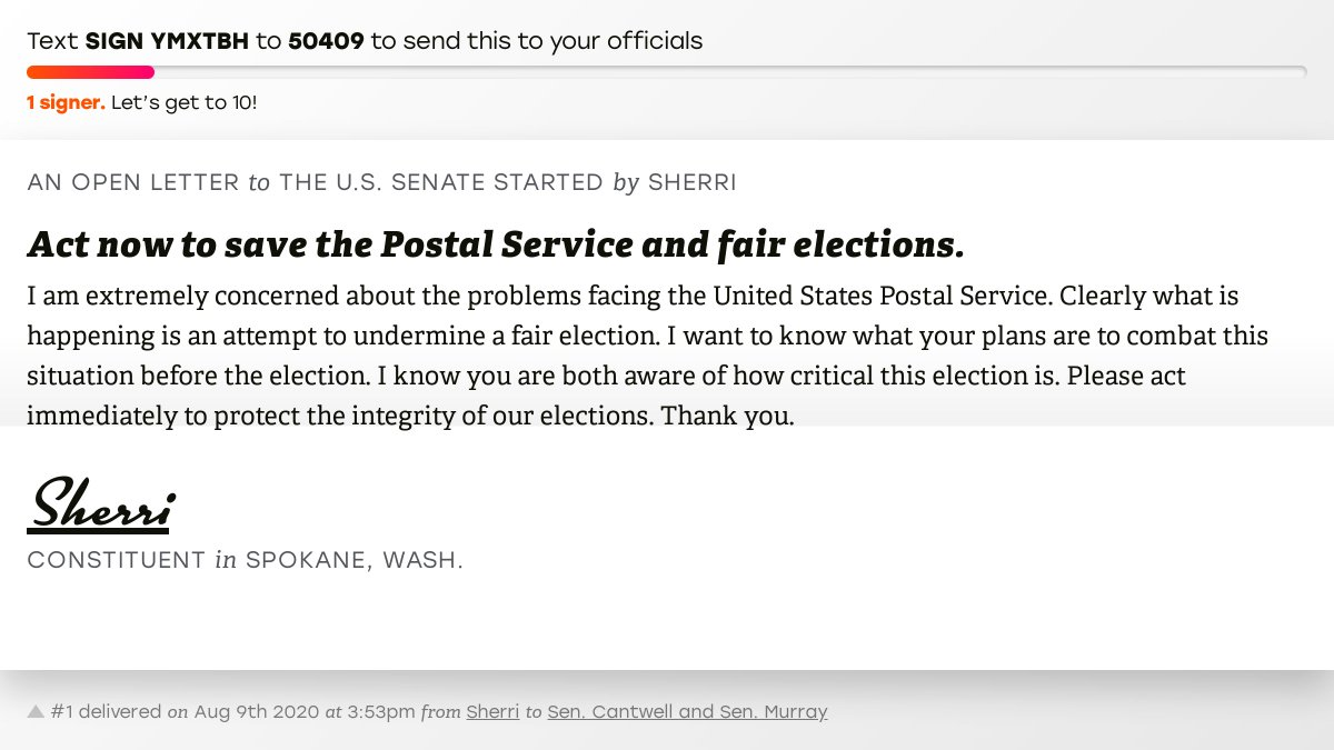 """🖋 Sign """"Act now to save the Postal Service and fair elections."""" and I'll deliver a copy to your officials: https://t.co/JpPFRVHATI  📨 No. 1 is from @aliceoop to @SenatorCantwell and @PattyMurray #WA05 #waelex https://t.co/kgiOh8K1LN"""