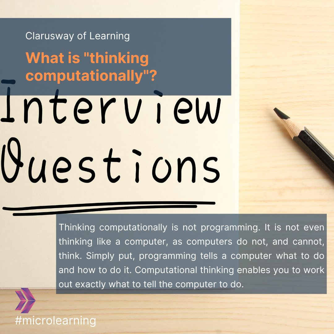 """What is """"thinking computationally""""? . . . #itprofessionals #itacademy #onlinelearning #ittrainingcenter #itjobsearch #devopstraining #linux #cloudengineer #interviewquestions #jobsearch #interview #careeradvice #interviewtips #jobinterview #jobinterviewhelp #careertips https://t.co/jXq52zG8wS"""