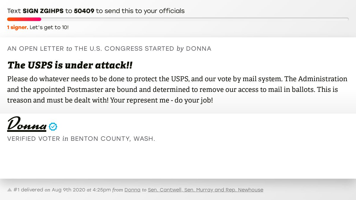 """🖋 Sign """"The USPS is under attack!!"""" and I'll deliver a copy to your officials: https://t.co/ReBFQ3JG1E  📨 No. 1 is from @donnamay55 to @SenatorCantwell, @PattyMurray and @RepNewhouse #WA04 #waelex #VoteByMail https://t.co/Xq7FKvvDji"""