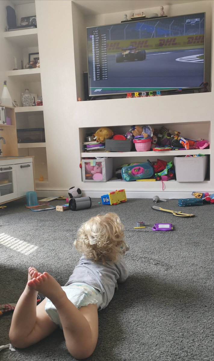 My 18month old, memorised by the race! Little F1 fan, in the making 🏁🏎️  Shes not been claimed by a team yet, so who wants her?!? @McLarenF1 @MercedesAMGF1 @RacingPointF1 @redbullracing @RenaultF1Team  #Blake #daughter #Formula1 @F1 @LandoNorris #f1 #LN4 https://t.co/LORUfB2BrV