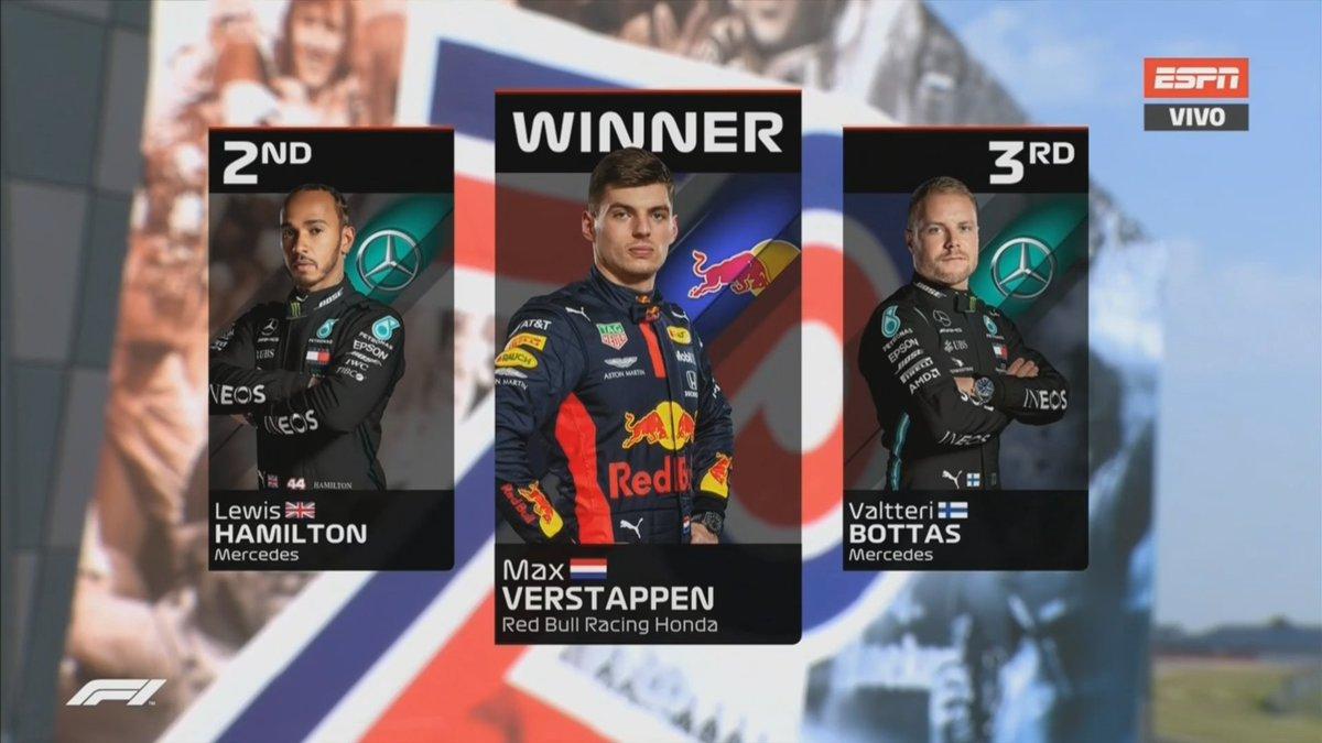 #F1 Podio y clasificación final luego del #GPSilverstone #GP70Aniversario #GP70 #Verstappen #RedBullRacing #Hamilton #Bottas #MercedesAMGF1 https://t.co/82dU4TIJDl