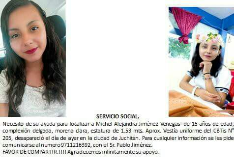 #TeBuscamos Michel Alejandría Jiménez Venegas, 15 años, 2/9/17 #Juchitán #Oaxaca #911 @LaHoraDelRucopic.twitter.com/wKNNGov1XV