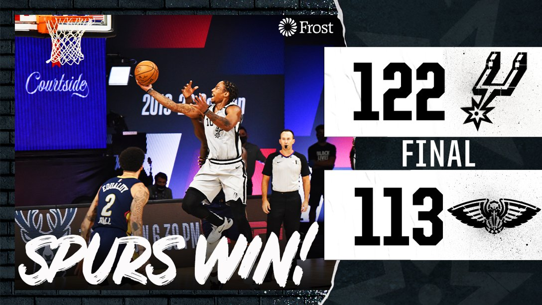Back-to-back W's in the bubble.   #GoSpursGo | #WholeNewGame https://t.co/jxtgEY8Mn9