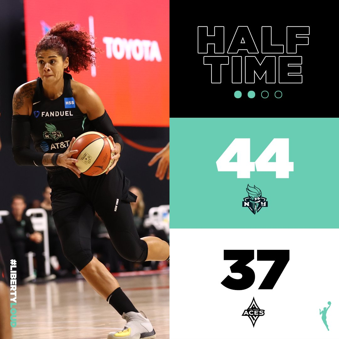 A #Liberty lead at half.🗽   @AmandaZahuiBwith a game high 14 pts & 7 rebs. https://t.co/C7ulmafrLA