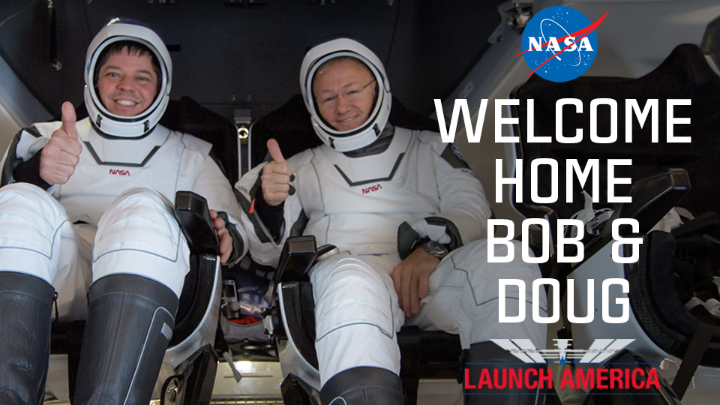 Last Sunday, @AstroBehnken & @Astro_Doug returned home to planet Earth aboard the @SpaceX Dragon Endeavour. Did you watch the splashdown? Take a look at welcome home messages to our #LaunchAmerica crew as they completed their 62-day mission in space: https://t.co/06DqwtmfkL