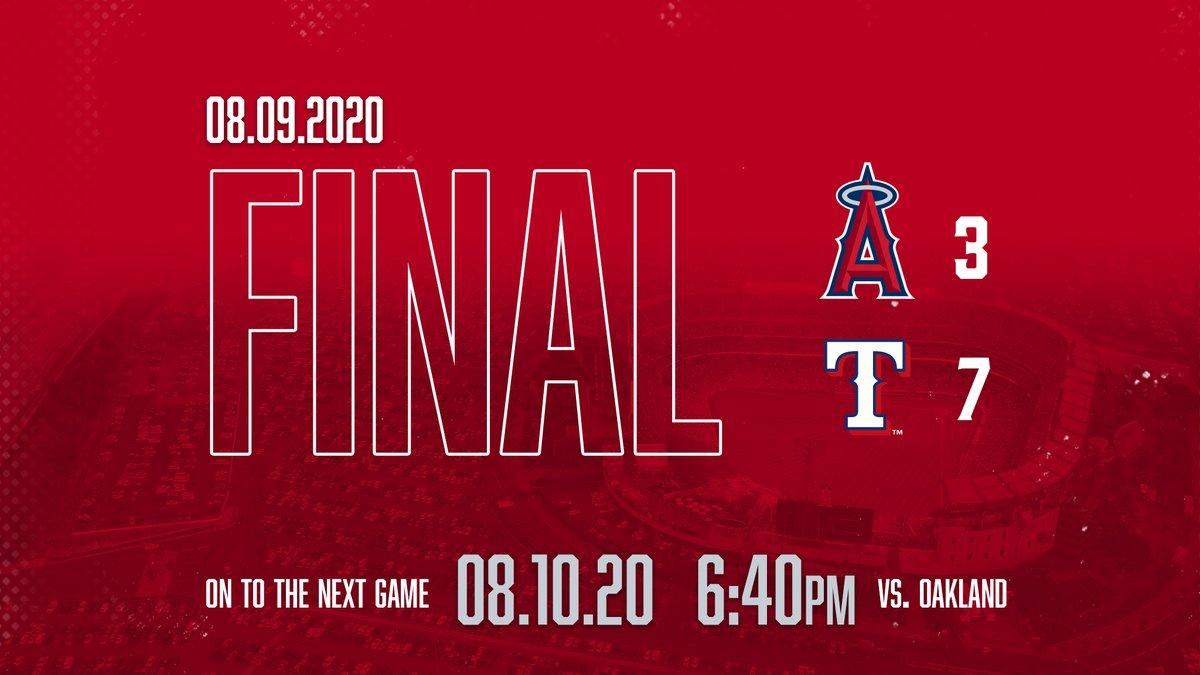 FINAL: Angels 3, Rangers 7 https://t.co/UVzM77qdds
