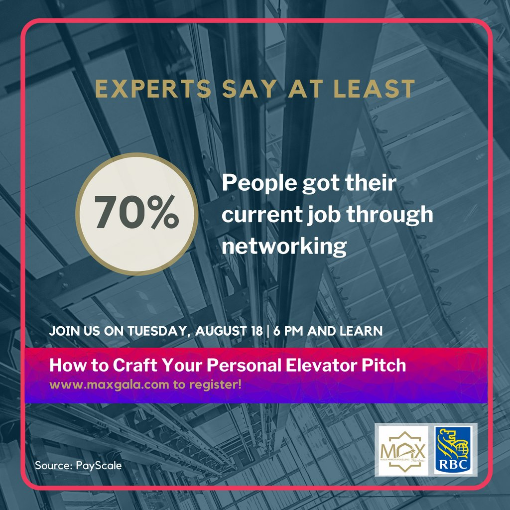Experts on LinkedIn recommend job seekers to focus most of their time on networking. Join us at our event in partnership with RBC to learn how to craft your elevator pitch! https://t.co/0UnwJRPa69  #MAXMentors #RBC #excellence #career #jobs #personalbranding #corporate #interview https://t.co/C6qkbgNsIR