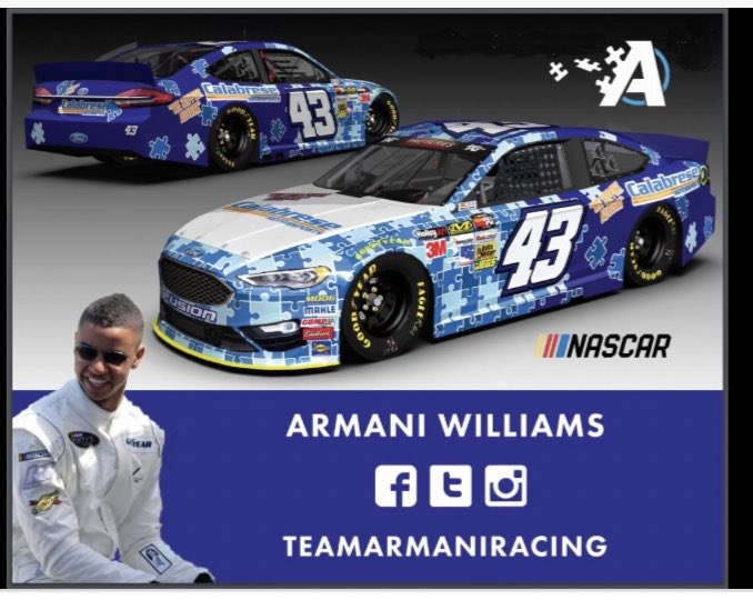 Watched this earlier. It is great. I have been following @TeamArmaniRacin for years. He has some cool #AutismAwareness in #NASCAR car designs.pic.twitter.com/wnL5r8a0nY