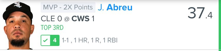Fellas at this point I know you don't think this is coincidence. There's a REASON why I put Abreu at the MVP spot instead of the superstars Ranierez and Lindor! Handing out free money over here get on board before I cap out. #dfs #nba #mlb #fanduel #draftkings pic.twitter.com/tb1qDVM5Jt
