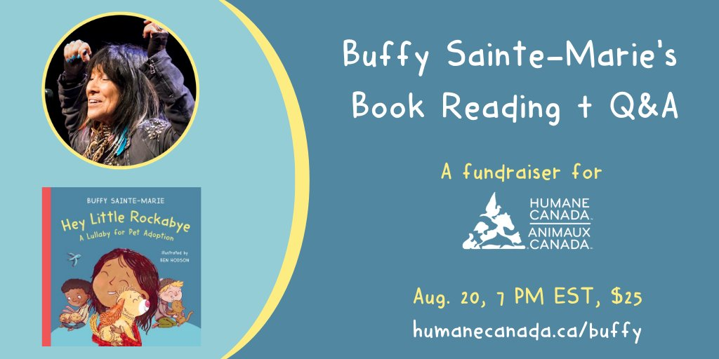 Be sure to check out this wonderful virtual event coming up! Its for a great cause and the picture book included is so sweet, all about Pet Adoption. It's a favorite in our house. 🐶🐱 #canlit #picturebooks #petadoption #virtialevent #buffysaintemarie https://t.co/efYewCn47v