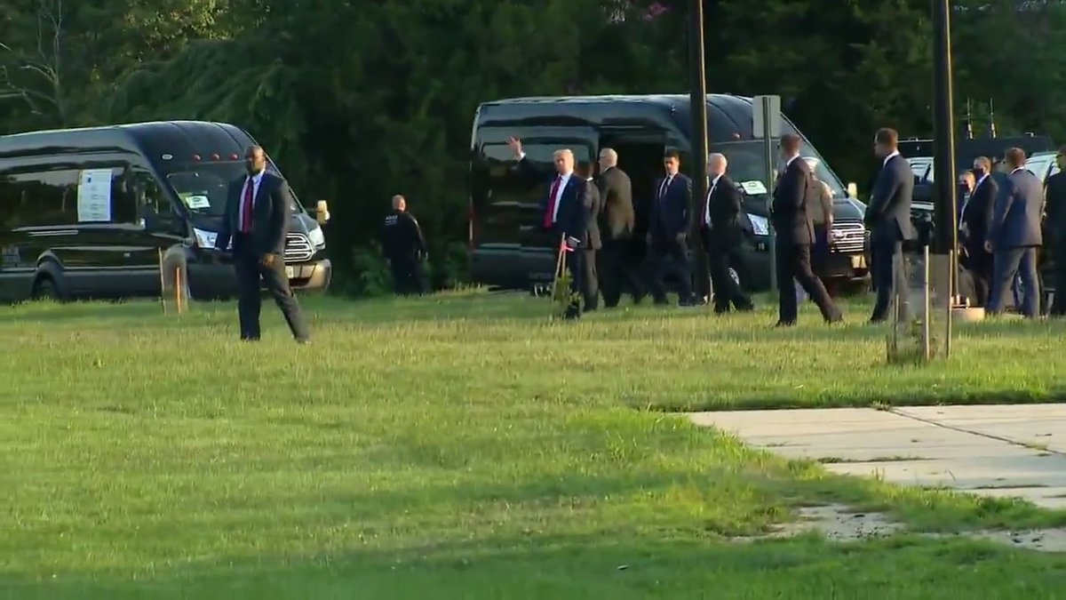 EARLIER: President Trump departs Long Branch, NJ after an event with supporters.