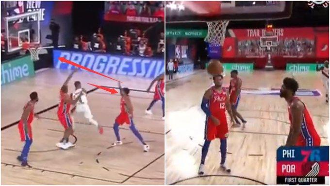【影片】超級烏龍球!Lillard突破傳球砸中Harris,不料皮球直接反彈進筐!