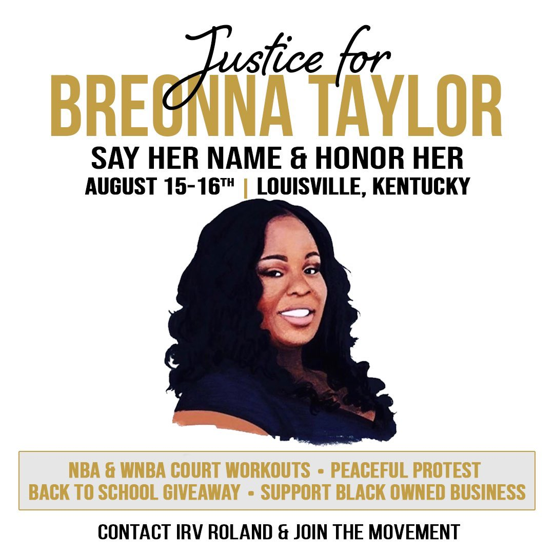 To all my brothers not in the bubble that want to help the fight for justice in Breonna Taylor's case, pull up to Louisville next weekend to support @untilfreedom @irv_roland ✊🏽🙏🏽 https://t.co/QcAZvP7cY3