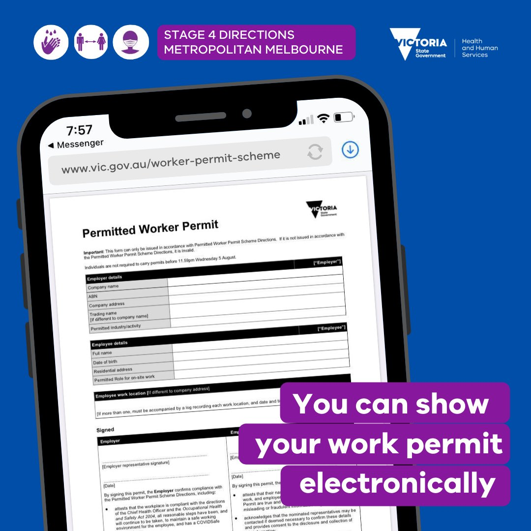 If you have a Permitted Worker Permit or a Childcare Permit, you can keep a digital copy and display it on your phone.    More on the Permitted Worker Permit: https://www.dhhs.vic.gov.au/permitted-worker-scheme-covid-19…pic.twitter.com/wXNv1pUtcK