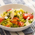 Image for the Tweet beginning: Zucchini Spaghetti w/ Sungold Tomatoes