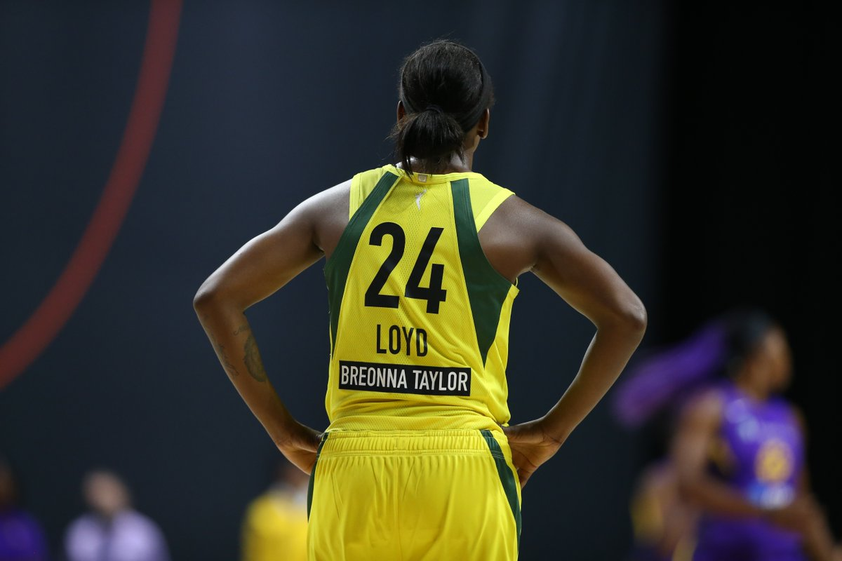 """""""In a league with all women, predominately black, it's important that we take a stand together."""" -@jewellloyd  #MondayMotivation #SayHerName   @AAPolicyForum 