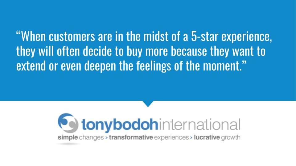 """""""When customers are in the midst of a 5-star experience, they will often decide to buy more because they want to extend or even deepen the feelings of the moment."""" http://www.TonyBodoh.com #business #entrepreneur pic.twitter.com/1WOKEDsFSw"""