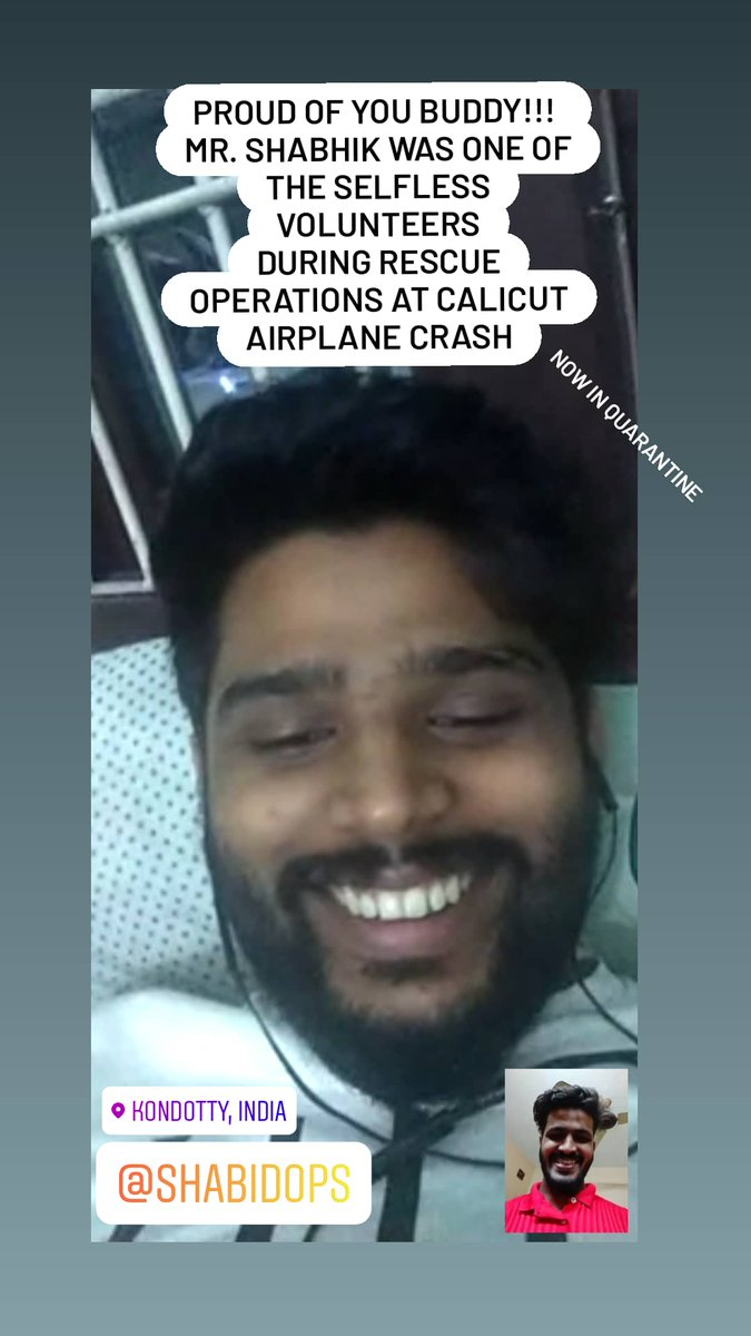 Proud of you buddy!! Shabikh from #Kondotty in #malappuram was one of those selfless #volunteers during #rescue operations at #CalicutAirCrash . Employee of @EramMotors is now in self quarantined at home. #muchlove   @MahindraRise @anandmahindrapic.twitter.com/LHYdDpP9r3