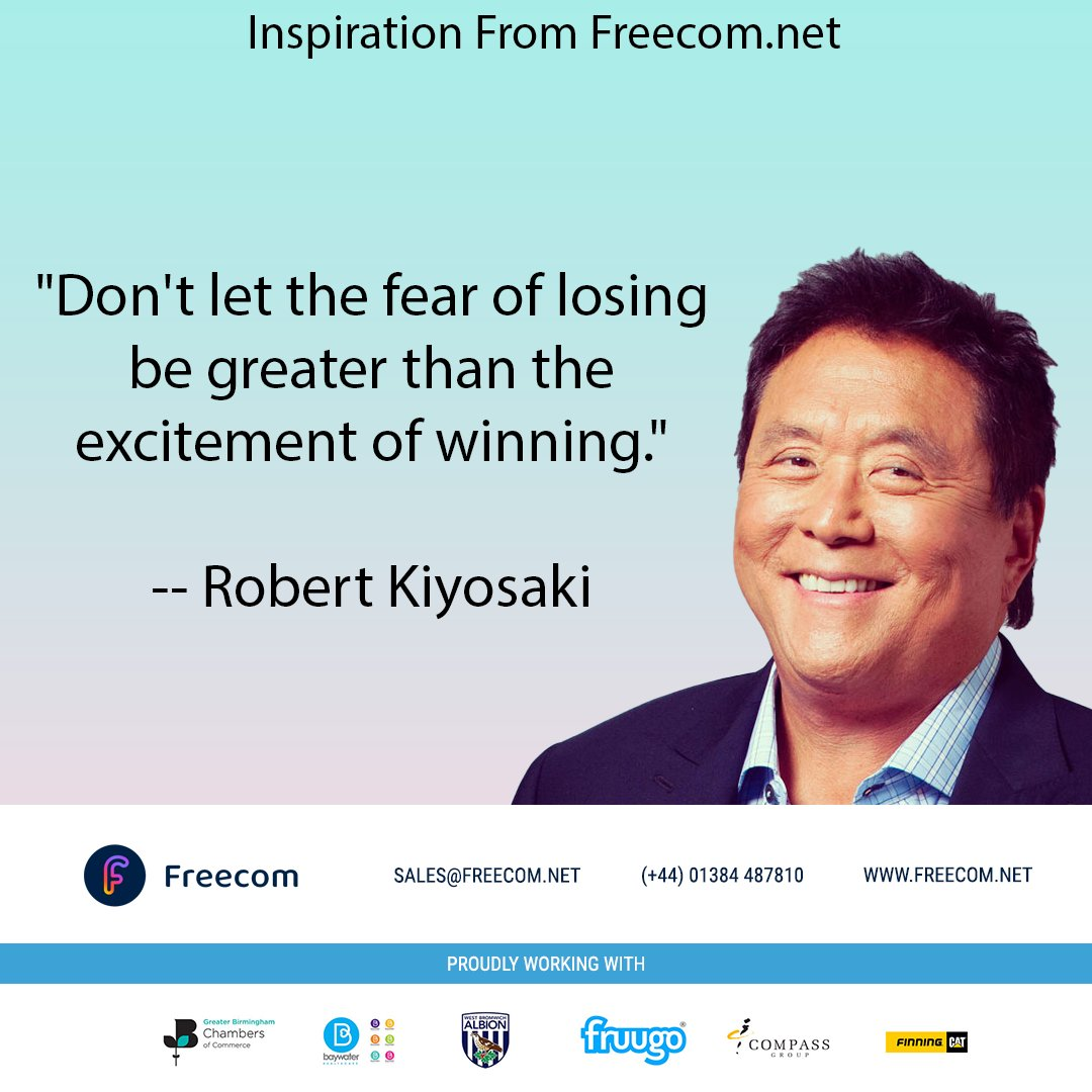 """Inspiration From http://Freecom.net  """"Don't let the fear of losing be greater than the excitement of winning."""" Robert Kiyosaki  Be inspired with a new website from Freecom here https://www.freecom.net/how-can-we-help  #business #success #motivation #smallbusiness #businessowner #inspirationpic.twitter.com/GW24H9LQY2"""