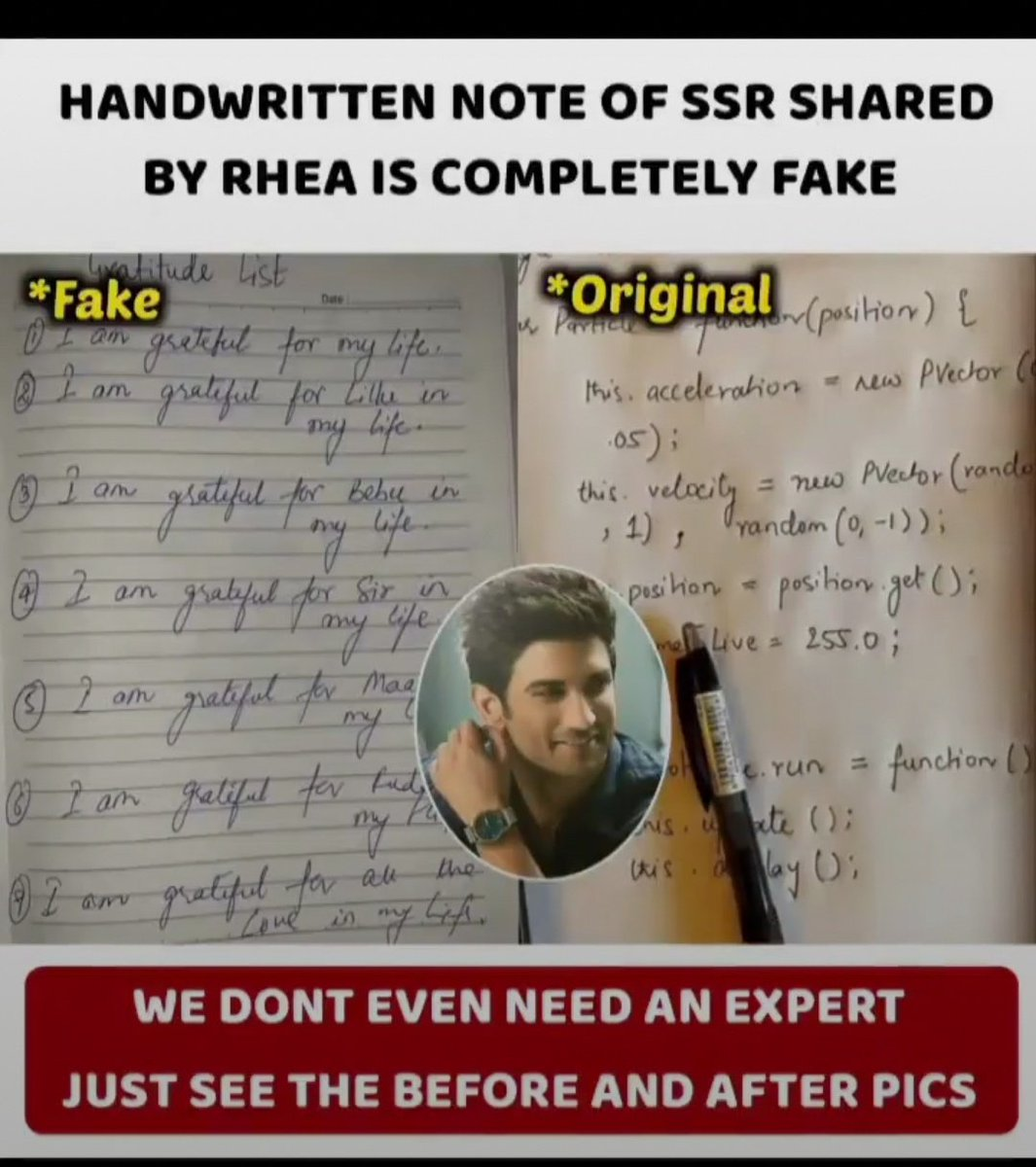 This is how @Tweet2Rhea is fake atleast you can match the handwriting so that it is easy to believe your lie..even 1% also doesn't match with sushant's handwriting..untill justice is prevail we'll fight for him #SSR #SSRKilledOn14June #Warriors4SSR @Swamy39 @shwetasinghkirtpic.twitter.com/1DN5qAHMua
