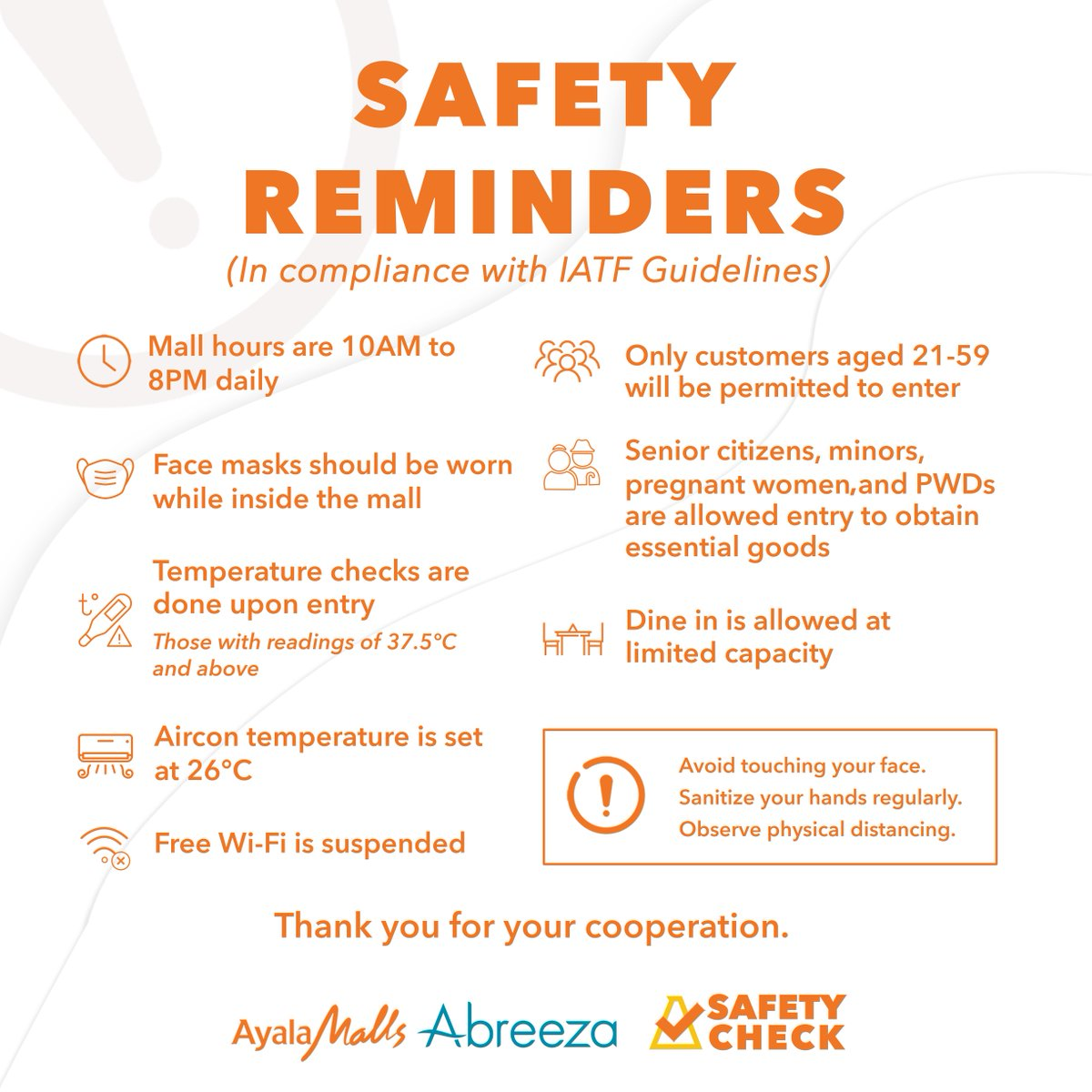 Safety reminders to our shoppers! We've put in place a number of measures to keep you safe when you visit us. Please view our updated list of safety reminders in compliance with IATF guidelines.  Let's all work together to keep Davao City healthy and safe! pic.twitter.com/fErFUWU1mp
