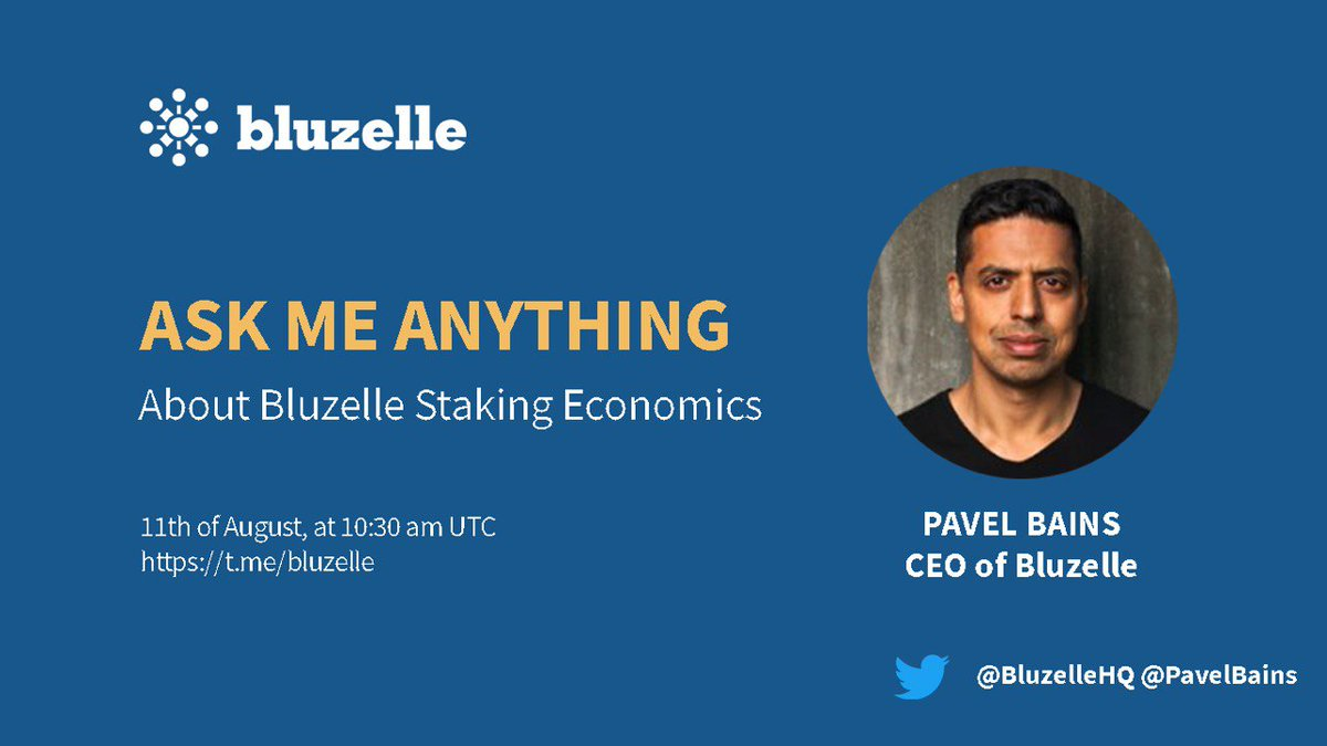 #AMA  AMA on the Bluzelle Staking economics! Our CEO Pavel Bains will be connecting with our community members nd Give the answer to all question 11Aug 10:30am UTC| 6:30pm SGT  Group: @bluzelle Check our staking economics: https://blog.bluzelle.com/bluzellenet-staking-economics-913943e5c74d … Rtwt: https://twitter.com/BluzelleHQ/status/1292741403814973440?s=20 …pic.twitter.com/CvdZir13Sn