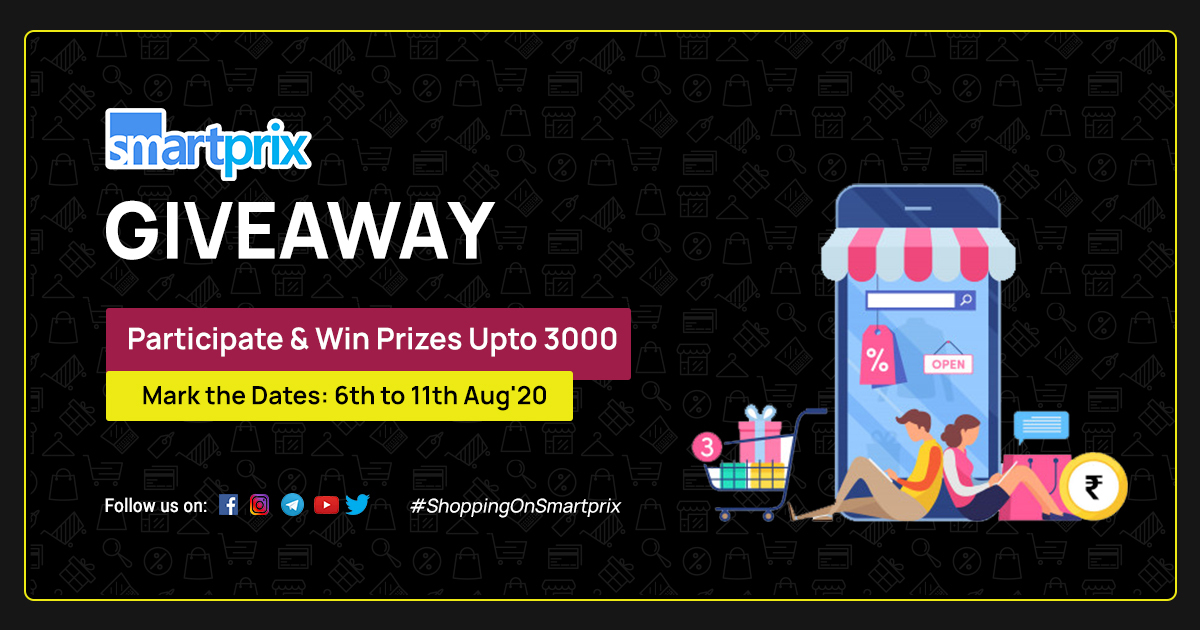 Giveaway: Win Prizes Upto ₹3000  How To Participate In #ShoppingOnSmartprix Giveaway https://smpx.to/6NBVCw   All the best! #Giveaways  #GiveawayAlertpic.twitter.com/YCVVHsRGnm
